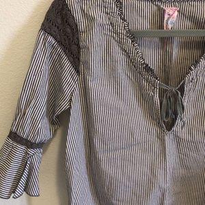 FREE PEOPLE Gray Striped Crochet Shirt